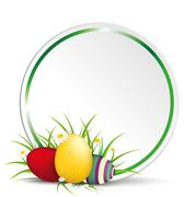 Easter Egss in Gras With Flowers Green Circle New - stock illustration