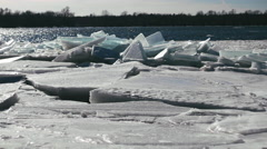 Ice Jam on Shore. Stock Footage