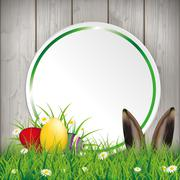 Colored Easter Eggs Grass Circle Banner Hare Stock Illustration