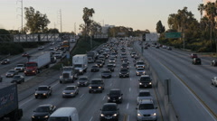 405 Morning Rush Hour With Airplane Stock Footage