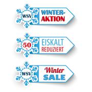 3 Winter Sale Markers Snowflakes WSV - stock illustration