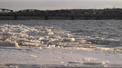 Fredericton, NB.  Walking Bridge in Winter. Stock Footage