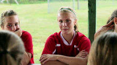 Girl soccer players eating pizza Arkistovideo