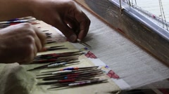 Indian man makes Pashmina Shawl the traditional way in Srinagar, Kashmir. India Stock Footage
