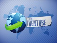 Stock Illustration of Joint Venture international sign concept