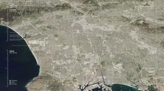 Aerial  surveillance flyover of the West Los Angeles metro area. - stock footage
