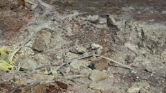 steamed volcanic sulphur hole in Hawaii - pan shot - stock footage