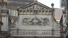 Leadenhall Market building with bas reliefs in London Stock Footage