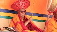 Tibetan monk in Buddhist festival at Lamayuru Gompa, Ladakh, India Stock Footage