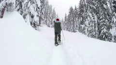 Steadicam of Man Hiking with Snowshoes and Poles Down Snowy Trail in Mountain Stock Footage