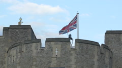 English flag on The London wall in London Stock Footage