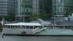HMS Belfast museum seen from across the river in London Stock Footage