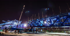 Express way construction site at night - stock footage