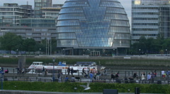 City Hall seen from across the river in London Stock Footage