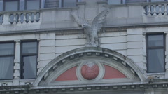 Eagle statue on a building in London Stock Footage