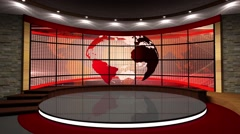 News TV Studio Set 111 - Virtual Green Screen Background Loop - stock footage