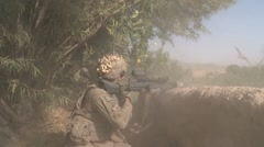 War in Afghanistan - Small Arms Fire Fight Between U.S. Marines and Taliban Stock Footage