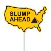 Slump ahead USA shaped road sign - stock illustration