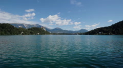Bled lake sky muontains - stock footage
