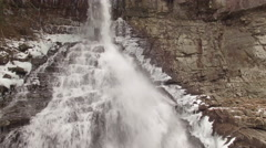 4k Aerial Snow Tennessee Waterfall Base 004 Hover Stock Footage