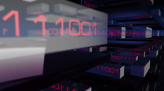 Animated 3D transpartent modules displaying changing red digital binary code Stock Footage