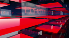 Stock Video Footage of Animated 3D transpartent modules displaying changing red digital binary code