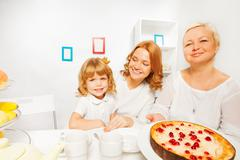 Cake with granny mother and little girl Stock Photos