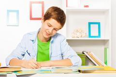 Smart handsome boy write in textbook, do homework Stock Photos