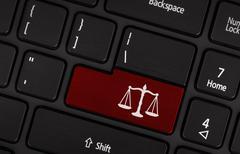 Law symbol (red key) Stock Photos
