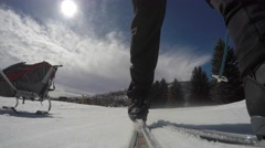 Family cross country skiing on sunny day Stock Footage