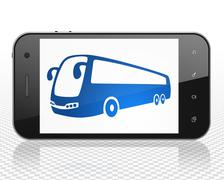 Travel concept: Smartphone with Bus on display Stock Illustration