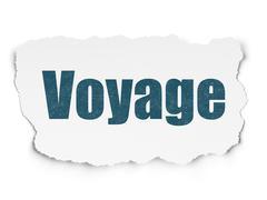 Travel concept: Voyage on Torn Paper background Stock Illustration