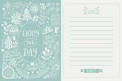 Flowers and leaf doodle elements Stock Illustration