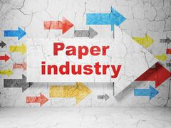 Industry concept: arrow with Paper Industry on grunge wall background - stock illustration