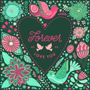 Floral heart frame made of flowers - stock illustration