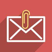 Stock Illustration of Mail Attachment Flat Longshadow Square Icon