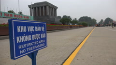 Ho Chi Minh mausoleum, restricted area, no trespassing, Hanoi, Vietnam Stock Footage
