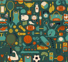 Doodle sports elements. Vector illustration - stock illustration