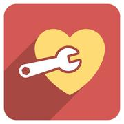 Heart Surgery Flat Rounded Square Icon with Long Shadow Stock Illustration