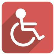 Handicapped Flat Rounded Square Icon with Long Shadow - stock illustration