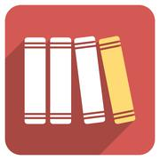 Library Books Flat Rounded Square Icon with Long Shadow - stock illustration