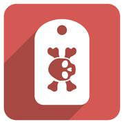Morgue Tag Flat Rounded Square Icon with Long Shadow - stock illustration