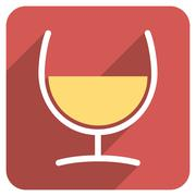 Remedy Glass Flat Rounded Square Icon with Long Shadow - stock illustration