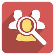 Search Patient Flat Rounded Square Icon with Long Shadow - stock illustration