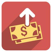 Spend Money Flat Rounded Square Icon with Long Shadow - stock illustration