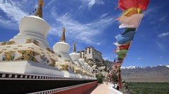 Colorful flags and many tibetan Stupa at Thiksey monastery. Leh, Ladakh, India Stock Footage