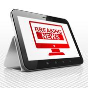 News concept: Tablet Computer with Breaking News On Screen on display Stock Illustration