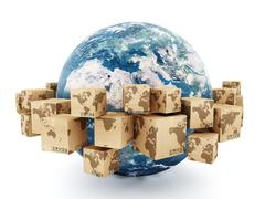 Cardboard boxes turning around the earth Stock Illustration