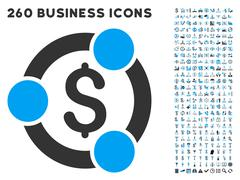 Financial Collaboration Icon with Flat Vector Set - stock illustration