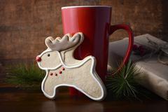 Reindeer Cookie and Coffee Cup. Kuvituskuvat